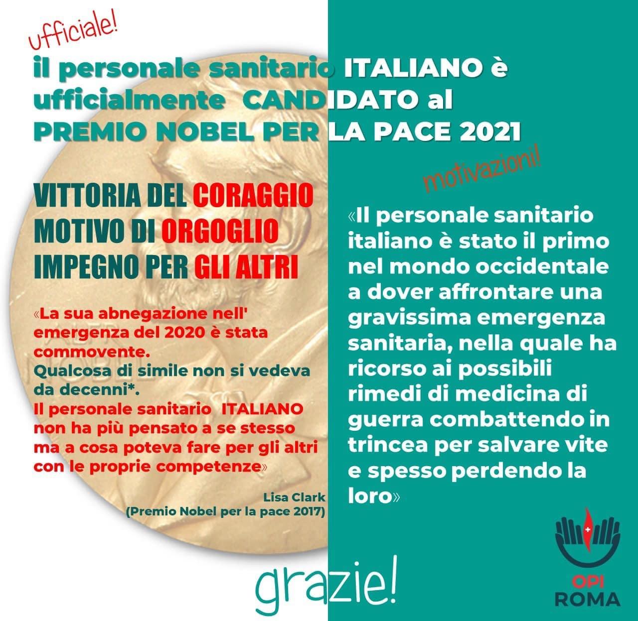 Candidatura ufficiale del personale sanitario italiano al Premio Nobel per la Pace